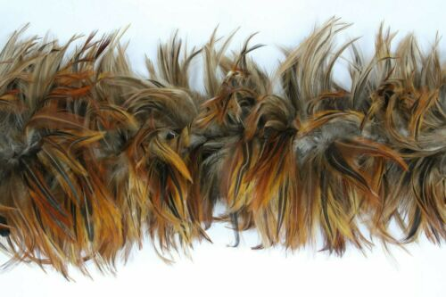 "2 Yard Hackle Boa NATURAL Feathers 5-7/"" in width Costume//Halloween//Fashion"