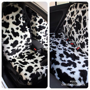 Image Is Loading Full Set Of Furry Cow Print Car Seat