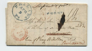 1837-New-Brunswick-NJ-hollow-letter-stampless-forwarded-twice-5247-64