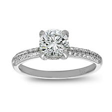 Sterling Silver Solitaire Engagement Ring with CZ in Micro Pave & Prong Set