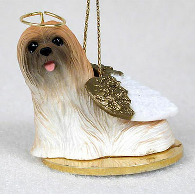 Lhasa Apso Dog Figurine Angel Statue Hand Painted Brown