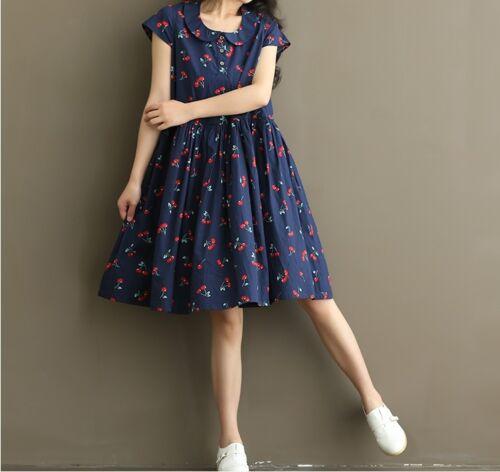 Vestido de verano Talla Grande Estampado De Cereza Dulce Moda Coreana Cuello Peter-Pan Suelto Vestido