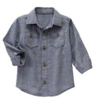 Gymboree Mountain Trail Boys Button Down Herringbone Shirt Size M 7 8