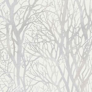 Baum zweige tapete wei silber as creation 300941 wald for Tapete baum