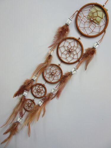 Stunning Brown Long Nylon 9cm Web Bone Bead Dream Catcher 68cm Total Length