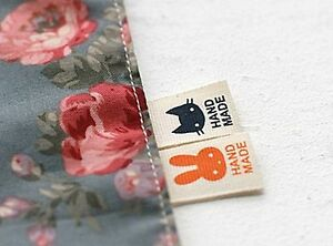 6-x-Lapin-Et-Chat-etiquettes-Fait-Main-Handmade-Sew-On-Craft-Label-Handmad-La176