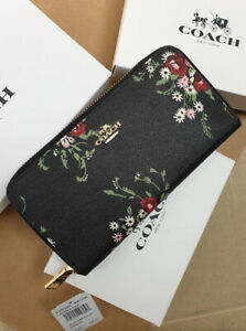 Authentic-Coach-Accordion-Zip-Wallet-With-Floral-Bundle-Print-and-Bow-Zip-Pull-F
