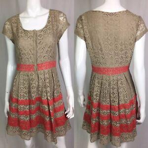 LC-Lauren-Conrad-Women-039-s-10-Tan-Pink-Coral-Lace-Shift-Flare-Button-Shirt-Dress