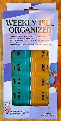 7 DAY AM PM Pill Box Week Organizer Case - Travel or Home Medicine Vitamins NEW