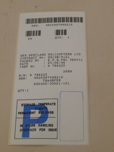 """P//No WDO300-00021-101 1R9D Helicopter /""""Cargo Emergency Release Pull/"""" Label"""