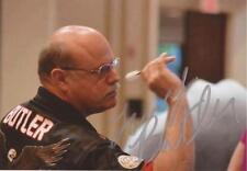 DARTS: LARRY BUTLER 'THE BALD EAGLE' SIGNED 6x4 ACTION PHOTO+COA