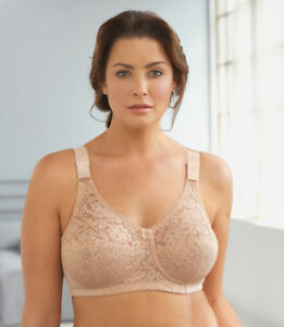 BRAND-NEW-CLOSEOUT-38D-Lace-Bra-Side-Support-Bones-Smooth-U-WIDE-STRAPS-Nude