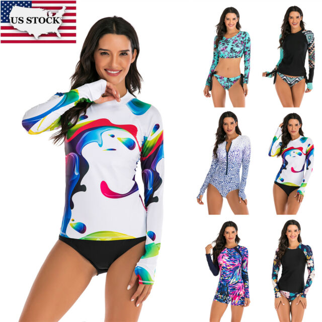 SailBee Womens UV Sun Protection Long Sleeve Rash Guard Wetsuit Swimsuit Set