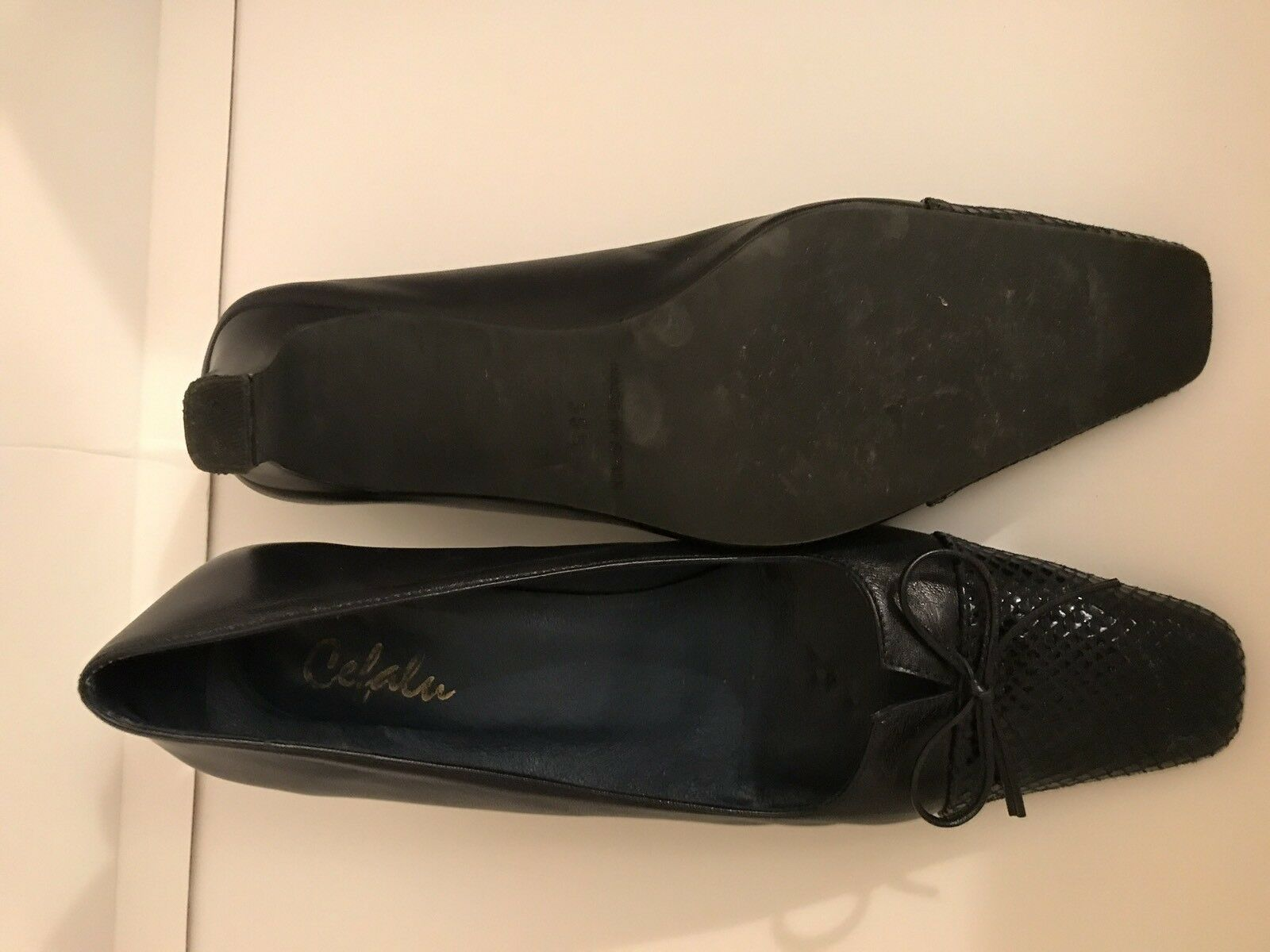 CEFALU Elpe Navy Blau Leder Court Schuhes UK5.5 EU38.5 US8 Ex Condition