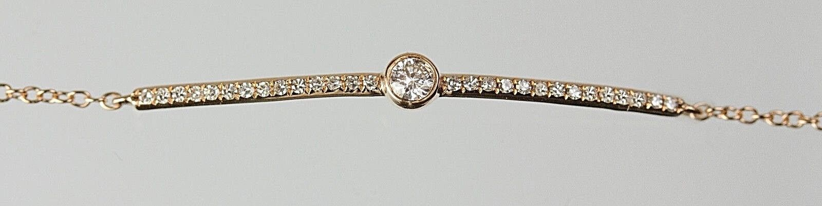 14k Yellow or pink gold Bar Bracelet with Diamonds ( Dia 0.15cts.)