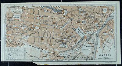 Cassel, Alter Farbiger Stadtplan, Datiert 1913