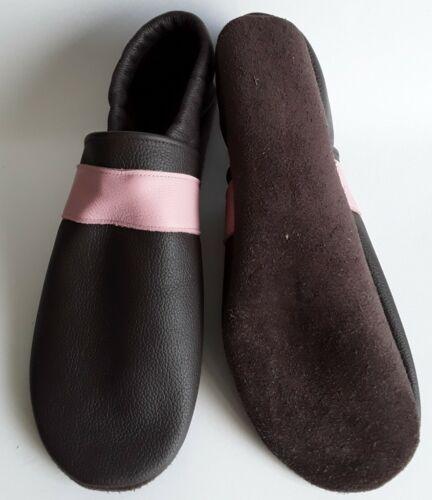 dunkelbraun Lederpuschen  Gr Streifen rosa Hausschuhe  Leder 39