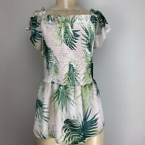L Tropic Palm Vince Sz Verdant Heat Green The Shoulder Camuto Smocked Off Sunlit qY5Yw7