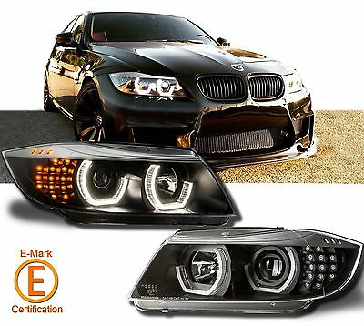 Headlights Halo Projector For BMW E90 E91 05-08 Silver Eyebrow LED DTM Style