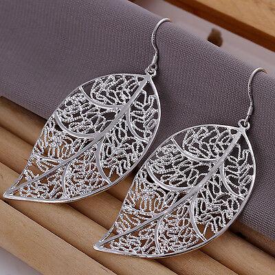 925 sterling silver filled Leaves pendant earrings women fashion jewelry