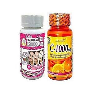 Gluta White Glutathione Whitening Pills 1500000mg And Acorbic Vitamin C - 1000mg