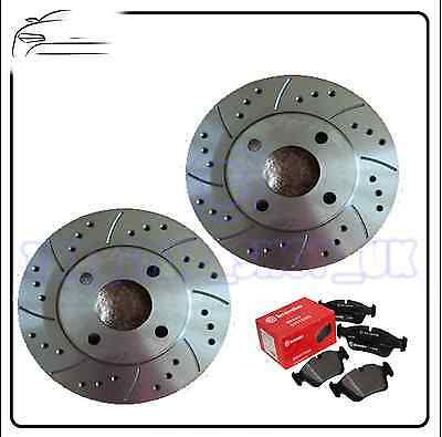 BMW E36 E46 Z3 Z4  Performance Drilled & Grooved Front Brake Discs & Brembo Pads