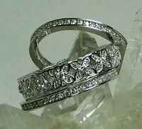 Shopnbc Brilliante Sterling Platinum Embraced Flower Eternity 3-ring Set Sz 10