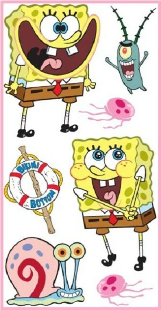 SPONGEBOB SQUAREPANTS BORDER STICKERS by SANDYLION BUBBLE JELLY FISH NICKELODEO