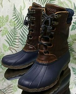 SPERRY-SALTWATER-BROWN-LEATHER-NAVY-BLUE-DUCK-MID-CALF-BOOTS-SHOES-WOMENS-SZ-6-M