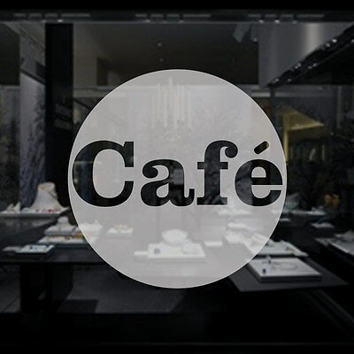 CAFE CIRCLE - Frosted Etched Vinyl Window Sticker - Small