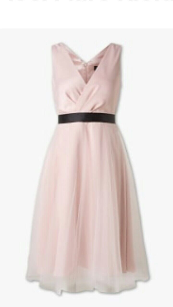 Prom Bridesmaid Dress - Pink Satin Faux Credver with Tulle Overskirt size 10