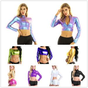 Women Metallic Shiny Crop Top Long Sleeves Zipper T-shirt Party Club Blouse Rave