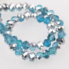 200pcs 6x4mm Rondelle Faceted Crystal Glass Loose Beads Silver&Lake Blue