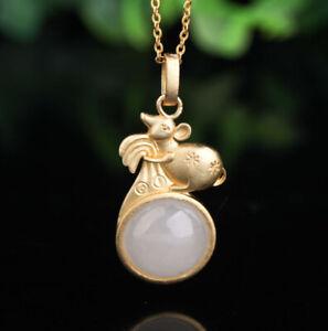 C10-Anhanger-Maus-auf-runder-weiser-Jade-Sterling-Silber-925-vergoldet