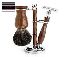 Máquina de Afeitar Tejón Brocha de afeitar de madera de estilo de 3 piezas de este conjunto de palo de rosa