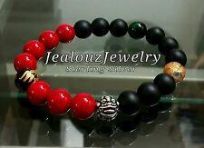 Sterling Silver Lucky Dragon African Color Gemstone Stretch Mens Yoga Bracelet