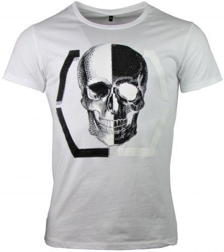 Skull Black /& White Herren T-Shirt Totenkopf Print mit Strass Steinen