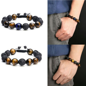 Mens Black Lava Beaded Tiger Eye