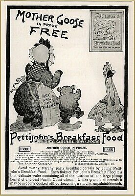 Advertising-print 1900 F Pettijohn's Breakfast Food Mother Bear Son Mother Goose Prose Print Ad