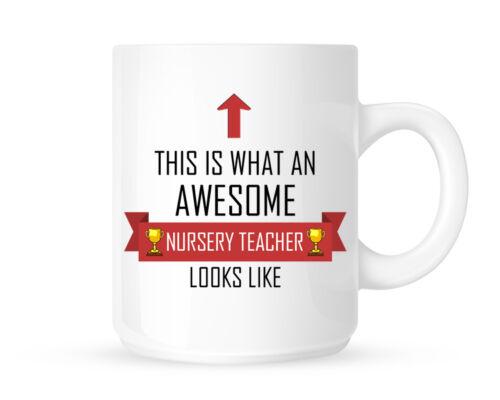 Red Ribbon This Is What An Awesome Nursery Teacher Looks Like Coffee Mug