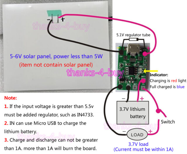 1A Micro USB Solar Panel Charger Controller 3.7V Lithium Battery Charging Board