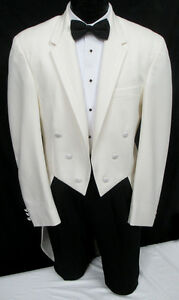 Men/'s Black Chaps Tuxedo Tailcoat Long Tails White Tie Wedding Mason 40 Regular