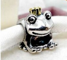 GENUINE 925 STERLING SILVER FROG GOLD CROWN CHARM BEAD