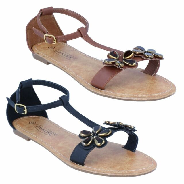 R36A Spot On F0R695 Ladies Black Beaded Sandals