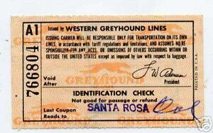 1960-Greyhound-Bus-Lines-Ticket-Santa-Rosa-to-Portland