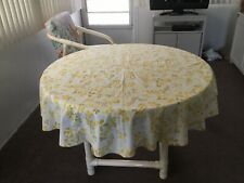 VINTAGE WHITE WITH GOLD & GREEN LEAF DESIGN TABLECLOTH