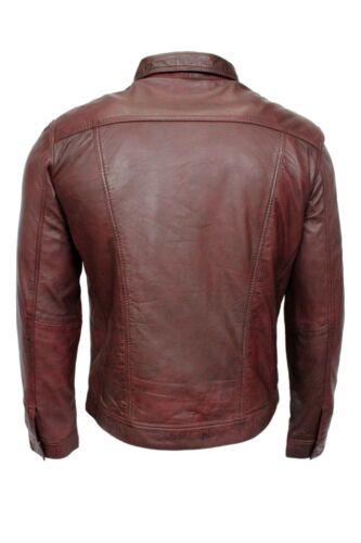 Classic TRUCKER Men/'s OxBlood Jacket Soft Lambskin Leather Western Stylish Shirt