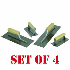 Concrete Cement Hand Trowel Finishing Tool 4 Piece Set Steel Lacquer Finish New