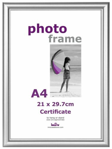 A4 Frame Photo Picture Certificate Wall /& Desk Mountable Pine Silver /& Black