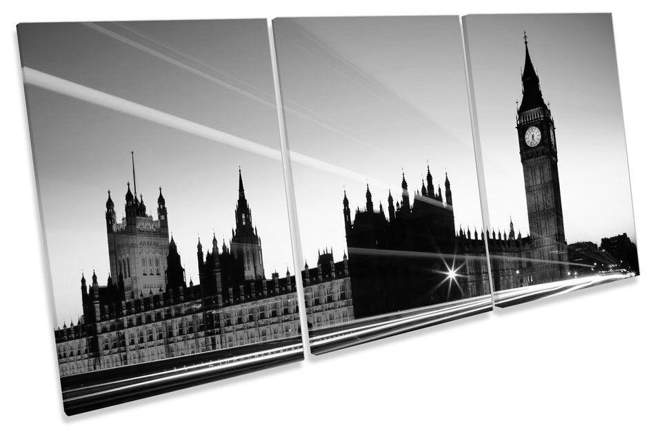 London City Night Big Ben Landmark B&W TREBLE CANVAS WALL ART Picture Print